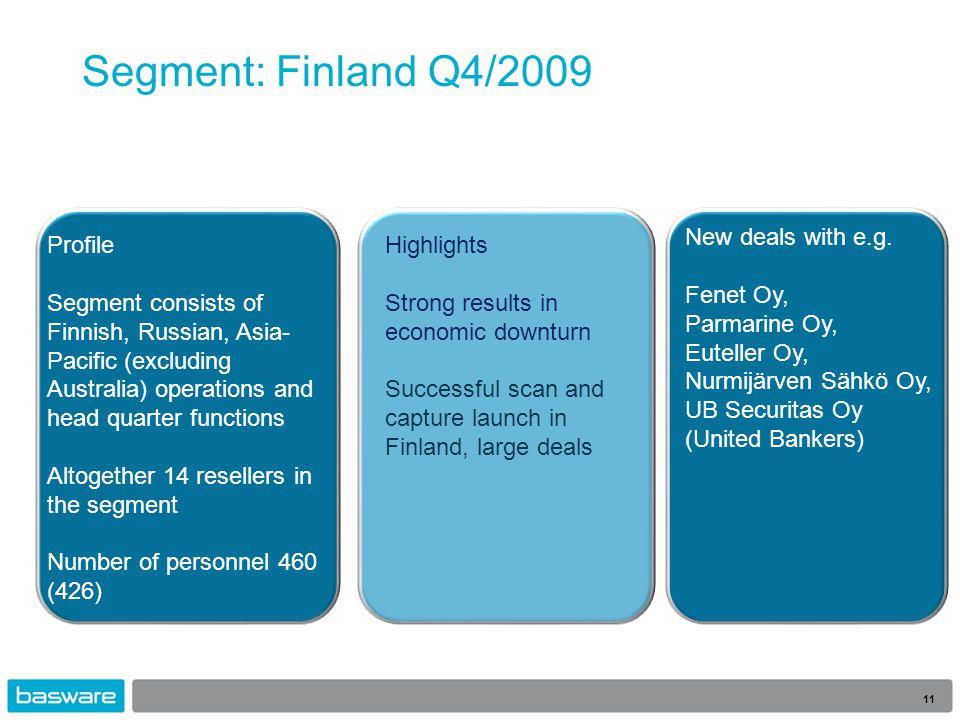 Segment: Finland Q4/2009 11 New deals with e.g. Fenet Oy, Parmarine Oy, Euteller Oy, Nurmijärven Sähkö Oy, UB Securitas Oy (United Bankers) Highlights