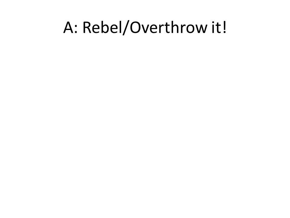 A: Rebel/Overthrow it!