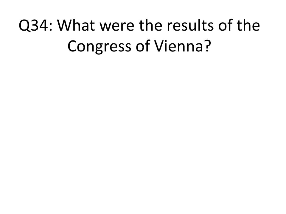 Q34: What were the results of the Congress of Vienna