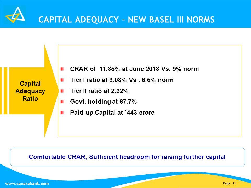 Page 41 www.canarabank.com CAPITAL ADEQUACY – NEW BASEL III NORMS Capital Adequacy Ratio CRAR of 11.35% at June 2013 Vs.