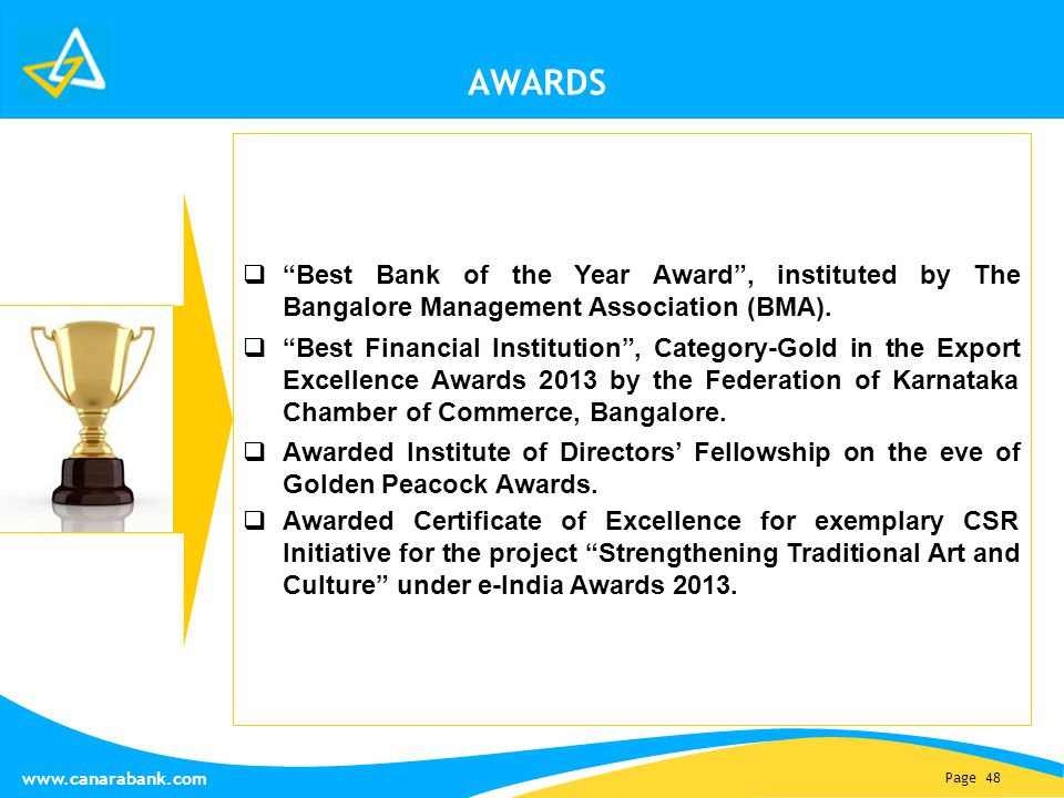 Page 48 www.canarabank.com AWARDS  Best Bank of the Year Award , instituted by The Bangalore Management Association (BMA).