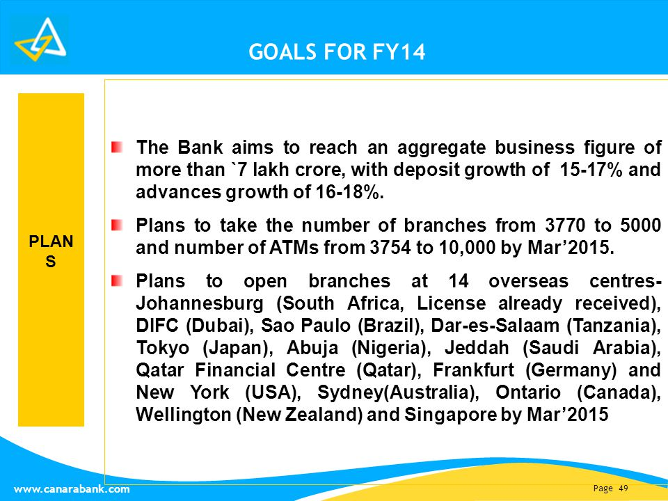 Page 49 www.canarabank.com GOALS FOR FY14 The Bank aims to reach an aggregate business figure of more than `7 lakh crore, with deposit growth of 15-17% and advances growth of 16-18%.