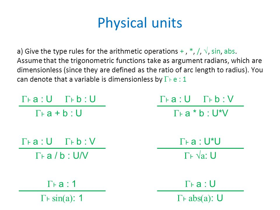 Physical units b) The unit expressions as defined above are strings, so that e.g.