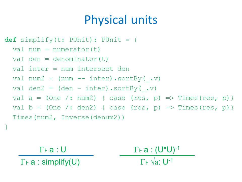 Physical units def simplify(t: PUnit): PUnit = { val num = numerator(t) val den = denominator(t) val inter = num intersect den val num2 = (num -- inter).sortBy(_.v) val den2 = (den – inter).sortBy(_.v) val a = (One /: num2) { case (res, p) => Times(res, p)} val b = (One /: den2) { case (res, p) => Times(res, p)} Times(num2, Inverse(denum2)) } Γ a : U Γ a : simplify(U) Γ a : (U*U) -1 Γ √a : U -1