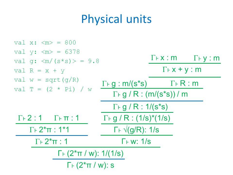 Physical units val x: = 800 val y: = 6378 val g: = 9.8 val R = x + y val w = sqrt(g/R) val T = (2 * Pi) / w Γ x : m Γ x + y : m Γ g : m/(s*s) Γ g / R