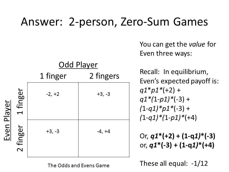 Answer: 2-person, Zero-Sum Games -2, +2+3, -3 -4, +4 1 finger2 fingers 2 finger 1 finger Odd Player Even Player The Odds and Evens Game You can get th