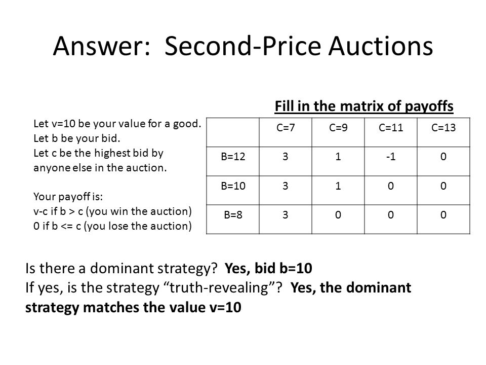 Answer: Second-Price Auctions Let v=10 be your value for a good. Let b be your bid. Let c be the highest bid by anyone else in the auction. Your payof