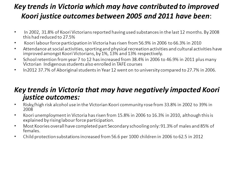 Key trends in Victoria which may have contributed to improved Koori justice outcomes between 2005 and 2011 have been: In 2002, 31.8% of Koori Victoria