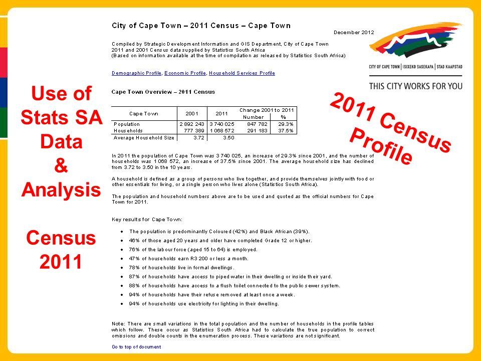 2011 Census Profile Use of Stats SA Data & Analysis Census 2011