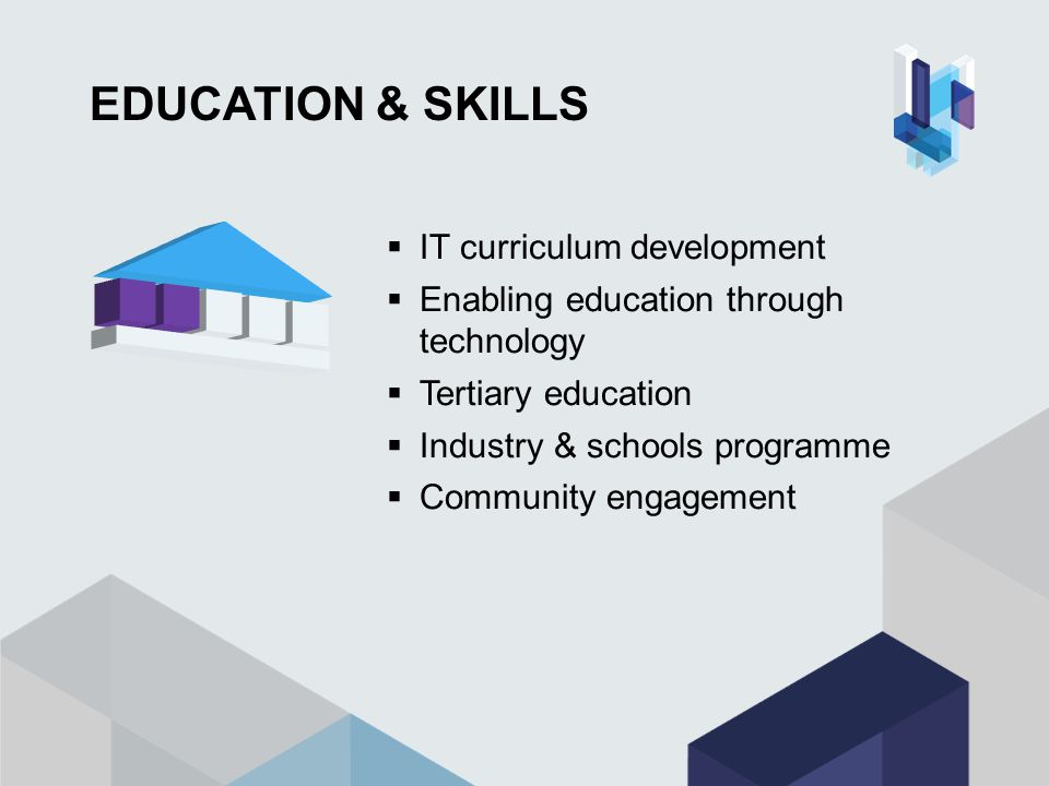 EDUCATION & SKILLS  IT curriculum development  Enabling education through technology  Tertiary education  Industry & schools programme  Community engagement