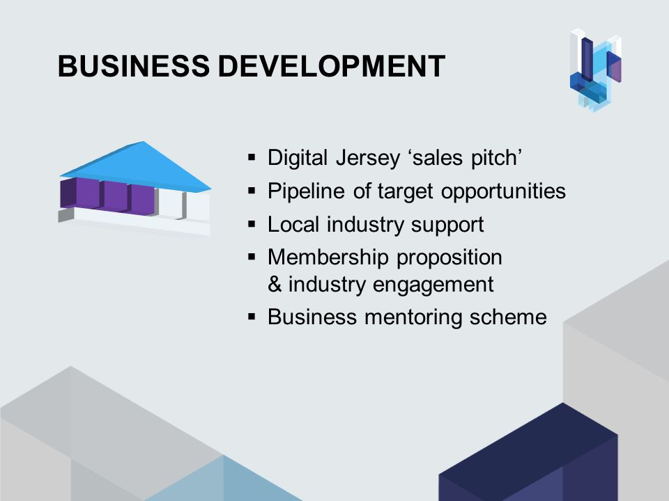 BUSINESS DEVELOPMENT  Digital Jersey 'sales pitch'  Pipeline of target opportunities  Local industry support  Membership proposition & industry engagement  Business mentoring scheme