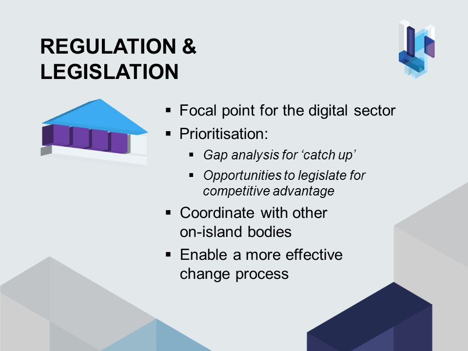 REGULATION & LEGISLATION  Focal point for the digital sector  Prioritisation:  Gap analysis for 'catch up'  Opportunities to legislate for competitive advantage  Coordinate with other on-island bodies  Enable a more effective change process