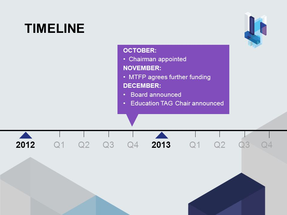 TIMELINE OCTOBER: Chairman appointed NOVEMBER: MTFP agrees further funding DECEMBER: Board announced Education TAG Chair announced Q3 Q4 Q1Q2Q3 20122013 Q1Q2 Q4