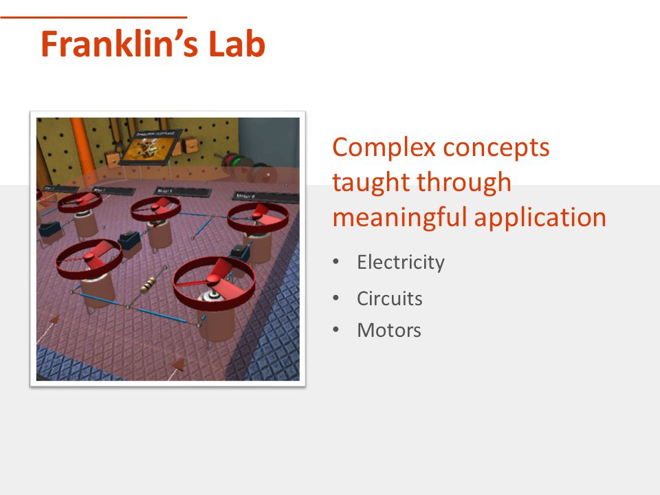 Franklin's Lab Complex concepts taught through meaningful application Electricity Circuits Motors