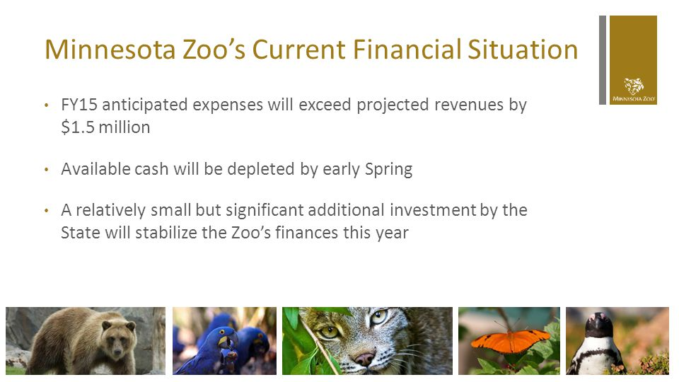 Minnesota Zoo's Current Financial Situation FY15 anticipated expenses will exceed projected revenues by $1.5 million Available cash will be depleted b