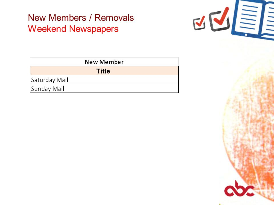 New Members / Removals Weekend Newspapers