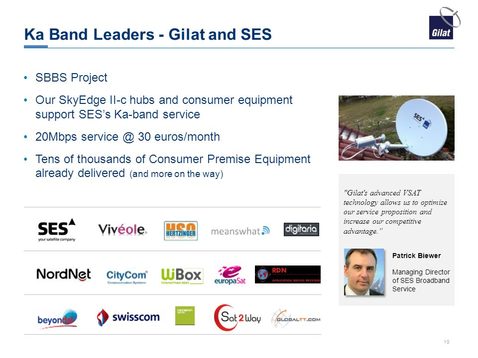 Ka Band Leaders - Gilat and SES SBBS Project Our SkyEdge II-c hubs and consumer equipment support SES's Ka-band service 20Mbps service @ 30 euros/mont