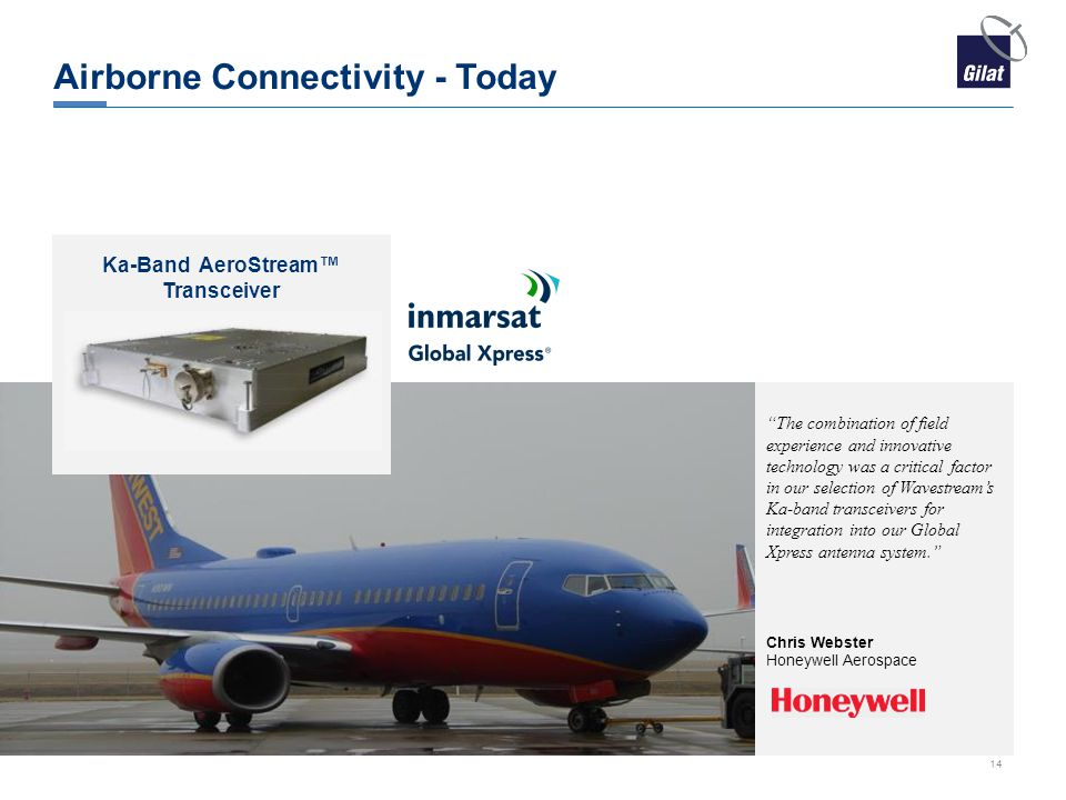 Airborne Connectivity - Today Chris Webster Honeywell Aerospace The combination of field experience and innovative technology was a critical factor in our selection of Wavestream's Ka-band transceivers for integration into our Global Xpress antenna system. Ka-Band AeroStream™ Transceiver 14
