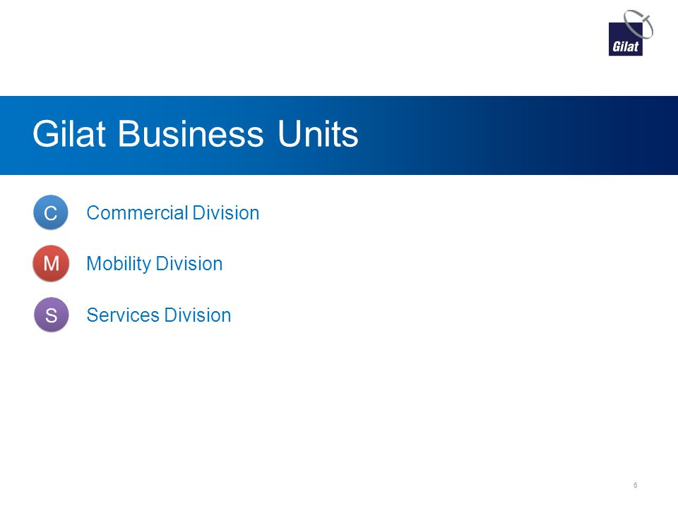 Gilat Business Units Commercial Division Mobility Division Services Division 6