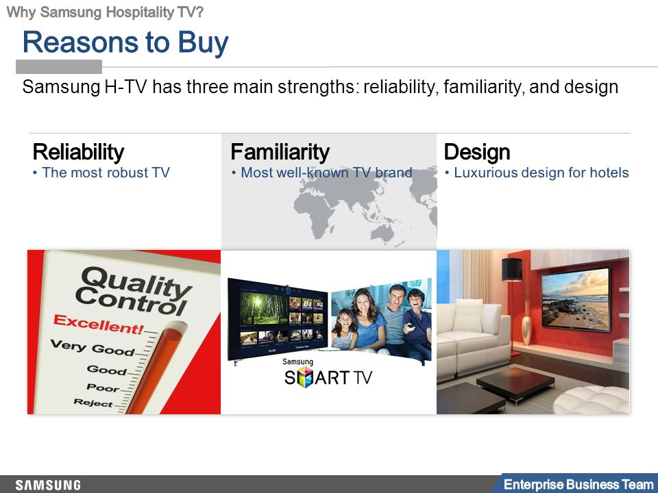 Samsung H-TV has three main strengths: reliability, familiarity, and design