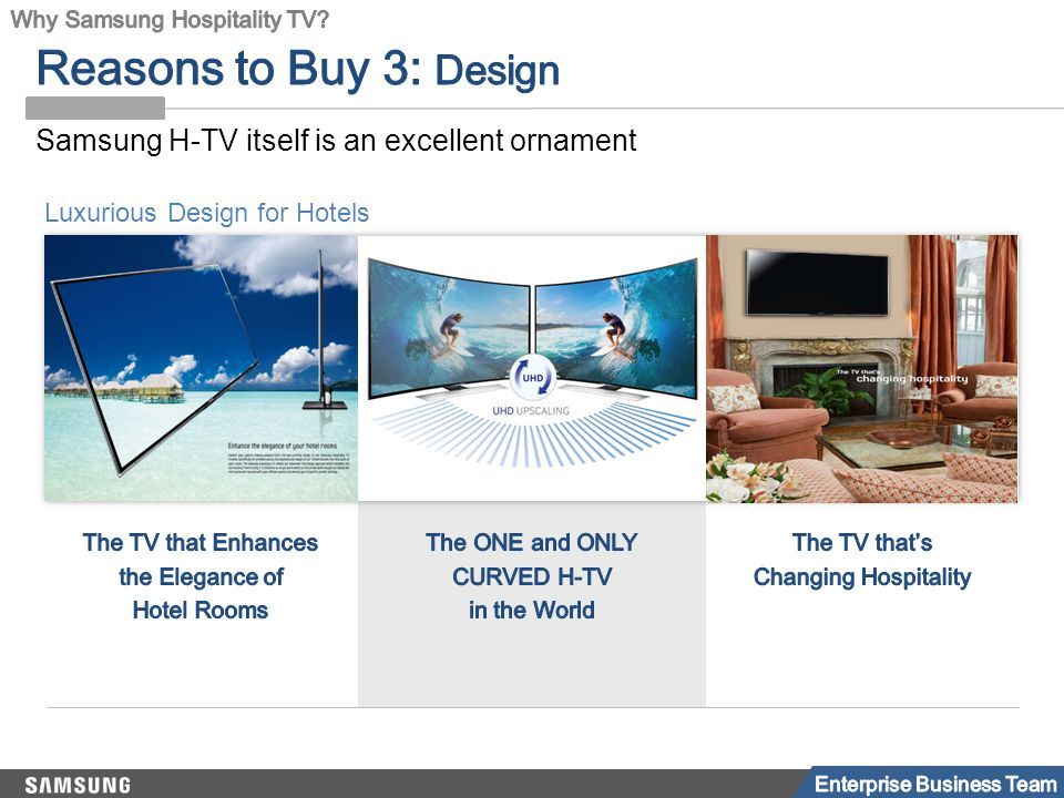 Luxurious Design for Hotels Samsung H-TV itself is an excellent ornament