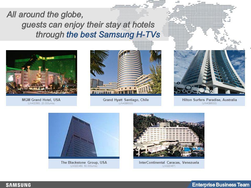 Grand Hyatt Santiago, Chile (UN40B6000) Hilton Surfers Paradise, Australia (UN40B6000) The Blackstone Group, USA (LN32C450, 50,000units) InterContinental Caracas, Venezuela (LN32D467) MGM Grand Hotel, USA (LN40D560, 20,000units)