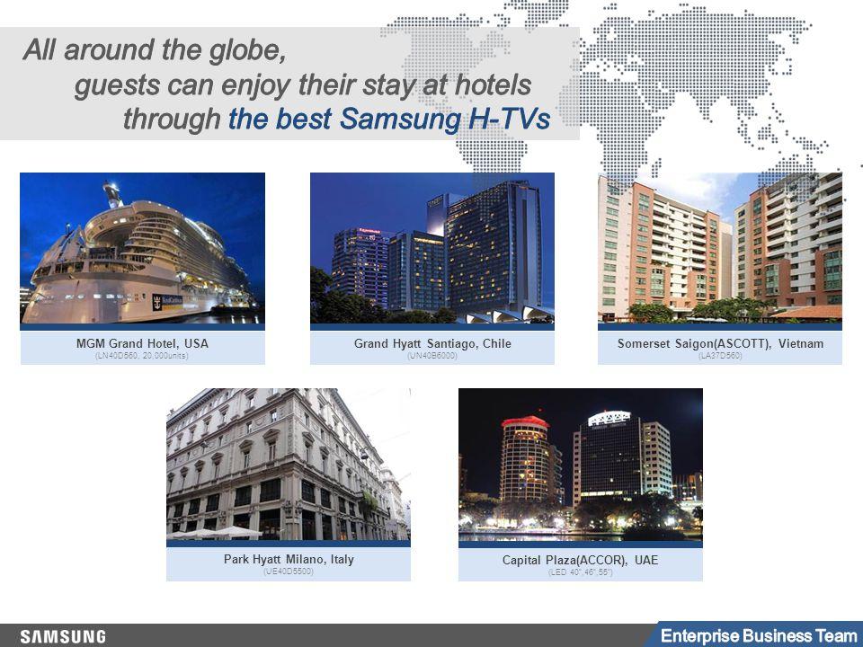 Park Hyatt Milano, Italy (UE40D5500) Capital Plaza(ACCOR), UAE (LED 40 ,46 ,55 ) MGM Grand Hotel, USA (LN40D560, 20,000units) Grand Hyatt Santiago, Chile (UN40B6000) Somerset Saigon(ASCOTT), Vietnam (LA37D560)