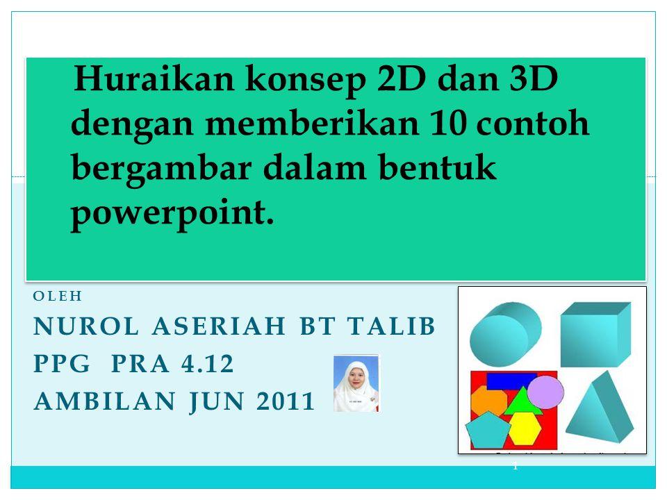 Huraikan konsep 2D dan 3D dengan memberikan 10 contoh bergambar dalam bentuk powerpoint.