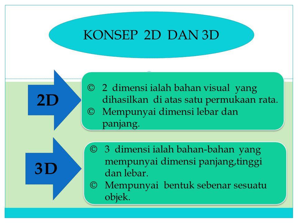 KONSEP 2D DAN 3D 2D 3D © 2 dimensi ialah bahan visual yang dihasilkan di atas satu permukaan rata.