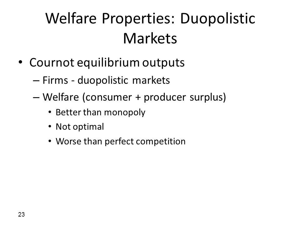 Welfare Properties: Duopolistic Markets Cournot equilibrium outputs – Firms - duopolistic markets – Welfare (consumer + producer surplus) Better than