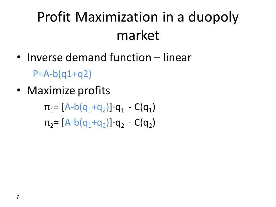 Profit Maximization in a duopoly market Inverse demand function – linear P=A-b(q1+q2) Maximize profits π 1 = [A-b(q 1 +q 2 )]·q 1 - C(q 1 ) π 2 = [A-b