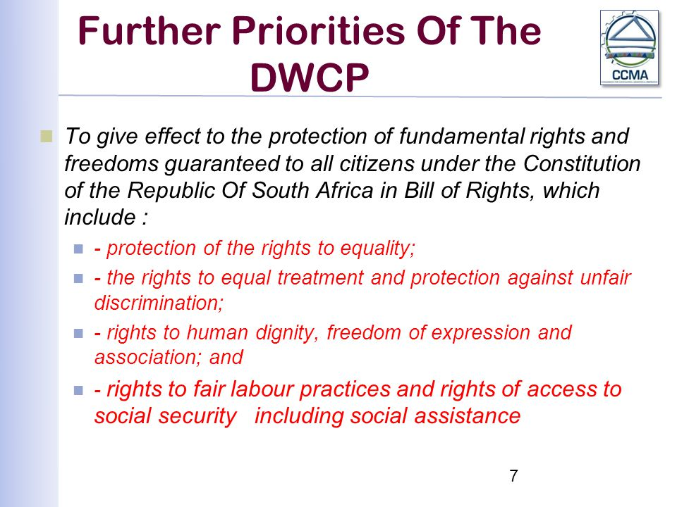 Further Priorities Of The DWCP To give effect to the protection of fundamental rights and freedoms guaranteed to all citizens under the Constitution of the Republic Of South Africa in Bill of Rights, which include : -protection of the rights to equality; - the rights to equal treatment and protection against unfair discrimination; - rights to human dignity, freedom of expression and association; and - rights to fair labour practices and rights of access to social security including social assistance 7