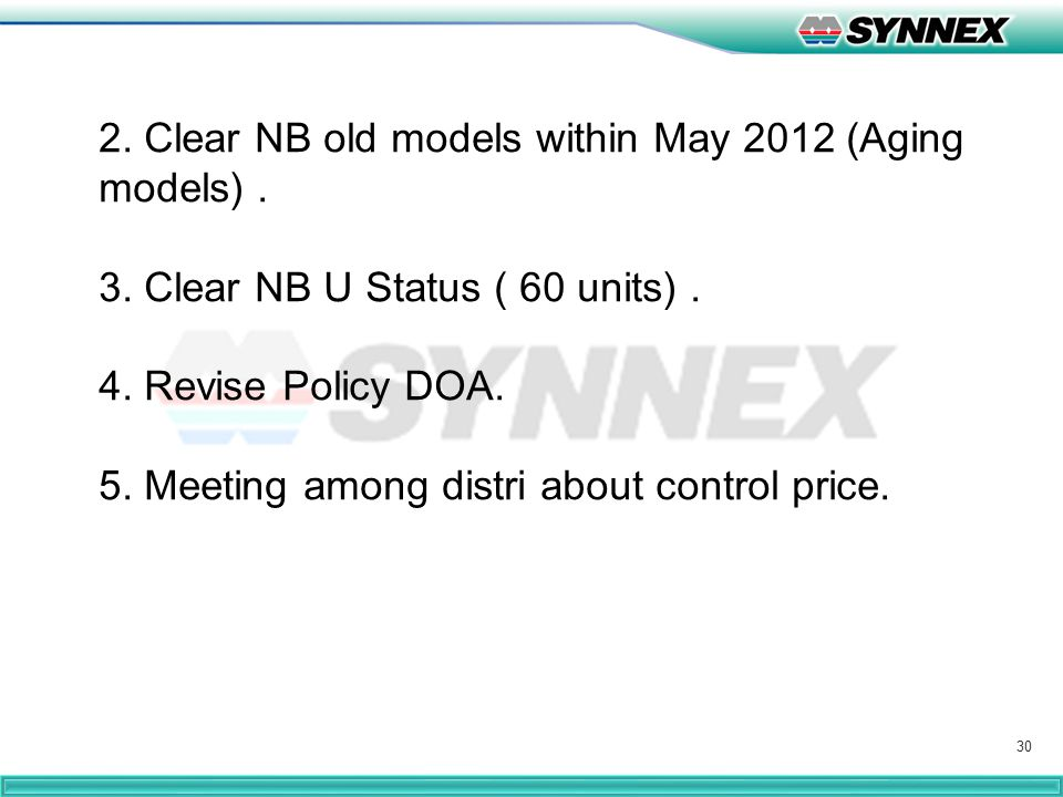 30 2. Clear NB old models within May 2012 (Aging models). 3. Clear NB U Status ( 60 units). 4. Revise Policy DOA. 5. Meeting among distri about contro