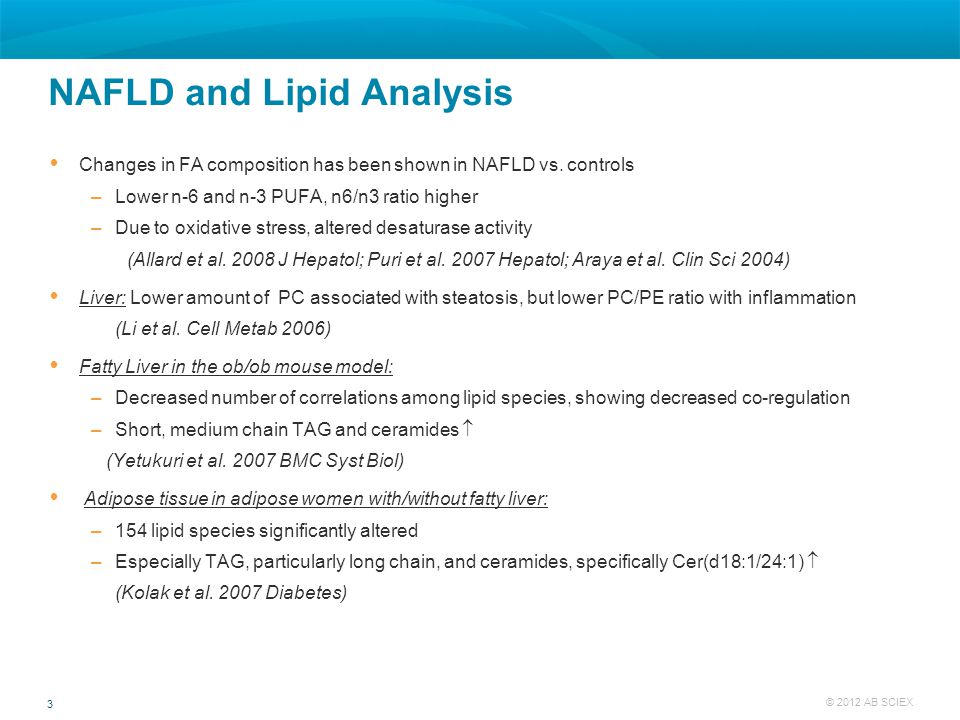 3 © 2012 AB SCIEX NAFLD and Lipid Analysis  Changes in FA composition has been shown in NAFLD vs. controls –Lower n-6 and n-3 PUFA, n6/n3 ratio highe