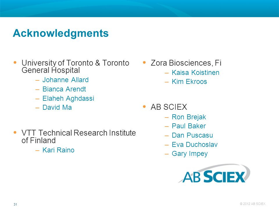 31 © 2012 AB SCIEX Acknowledgments  University of Toronto & Toronto General Hospital –Johanne Allard –Bianca Arendt –Elaheh Aghdassi –David Ma  VTT