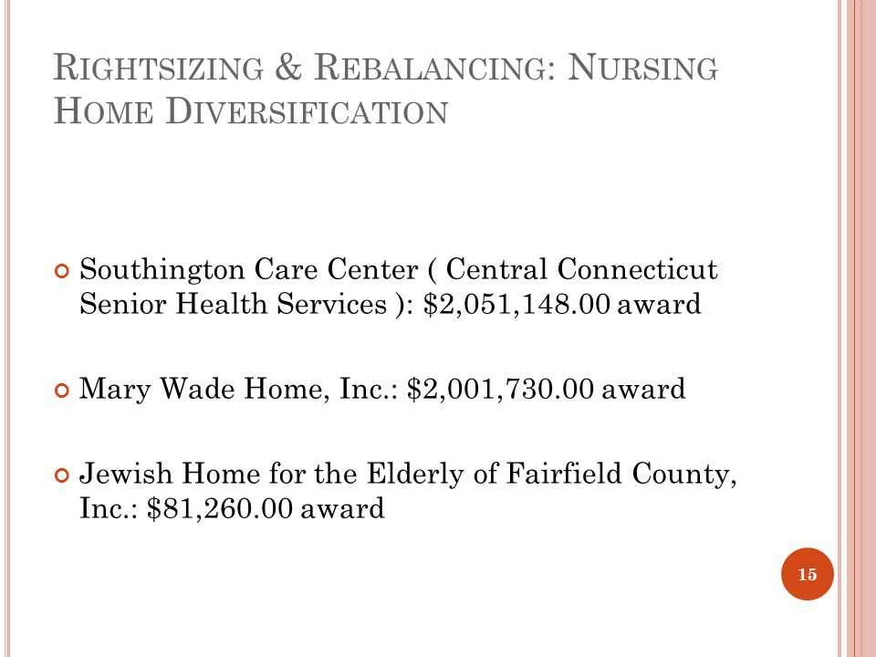 R IGHTSIZING & R EBALANCING : N URSING H OME D IVERSIFICATION Southington Care Center ( Central Connecticut Senior Health Services ): $2,051,148.00 award Mary Wade Home, Inc.: $2,001,730.00 award Jewish Home for the Elderly of Fairfield County, Inc.: $81,260.00 award 15
