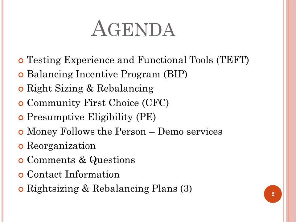 A GENDA Testing Experience and Functional Tools (TEFT) Balancing Incentive Program (BIP) Right Sizing & Rebalancing Community First Choice (CFC) Presu