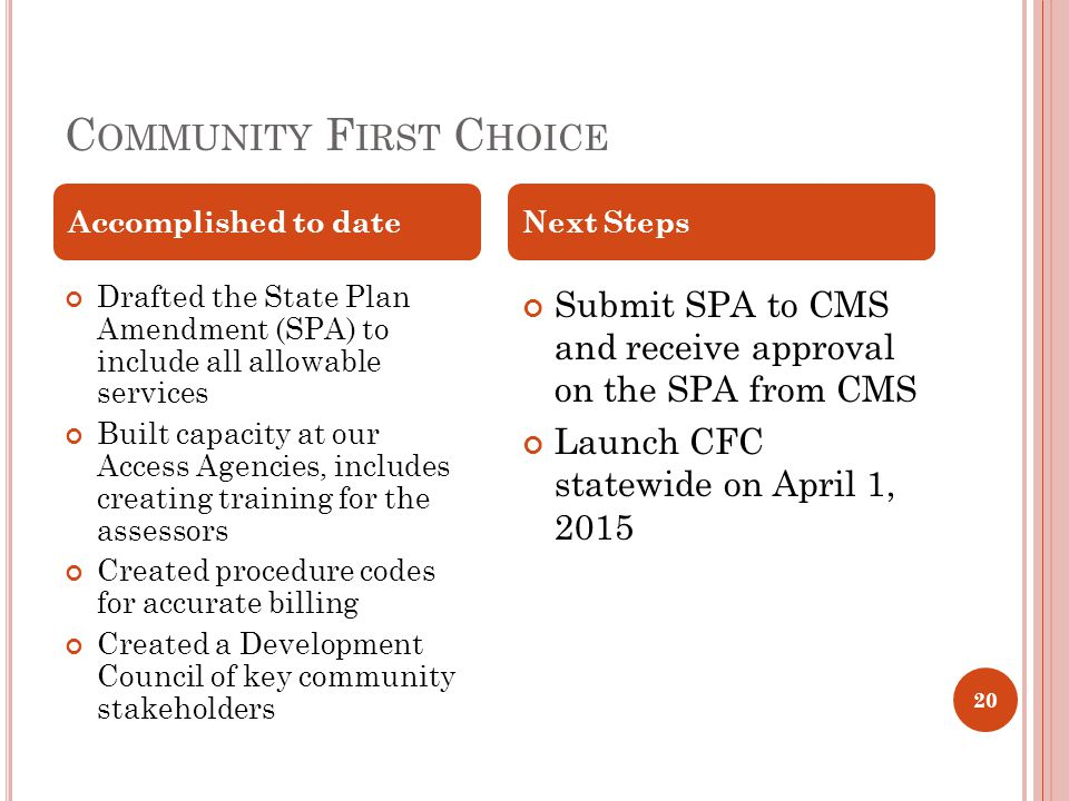 C OMMUNITY F IRST C HOICE Drafted the State Plan Amendment (SPA) to include all allowable services Built capacity at our Access Agencies, includes creating training for the assessors Created procedure codes for accurate billing Created a Development Council of key community stakeholders Submit SPA to CMS and receive approval on the SPA from CMS Launch CFC statewide on April 1, 2015 Accomplished to dateNext Steps 20
