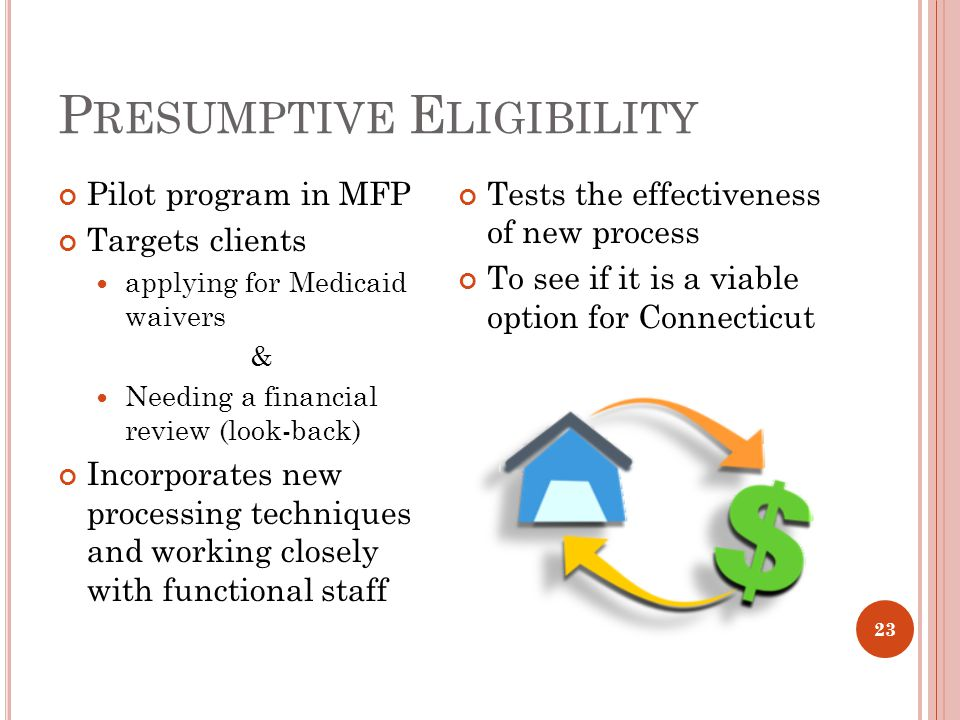 P RESUMPTIVE E LIGIBILITY Pilot program in MFP Targets clients applying for Medicaid waivers & Needing a financial review (look-back) Incorporates new