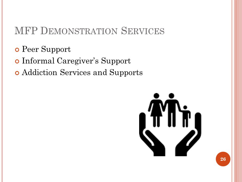 MFP D EMONSTRATION S ERVICES Peer Support Informal Caregiver's Support Addiction Services and Supports 26