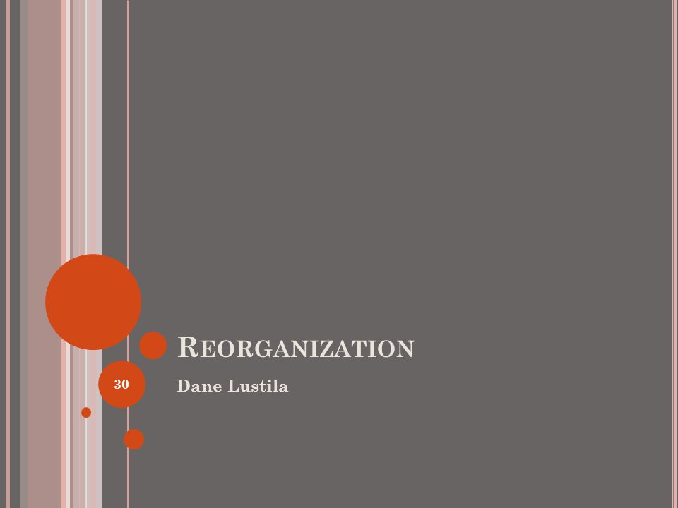R EORGANIZATION Dane Lustila 30