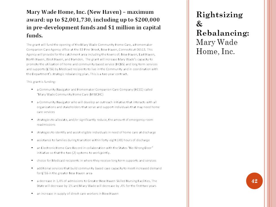 Rightsizing & Rebalancing: Mary Wade Home, Inc. 42
