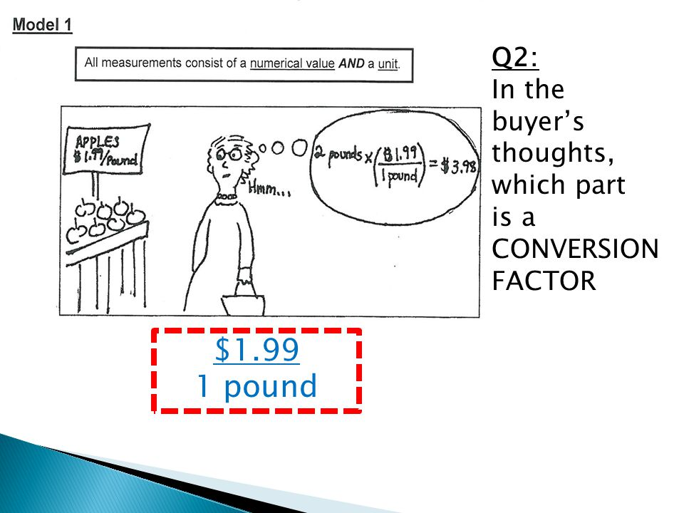 Q2: In the buyer's thoughts, which part is a CONVERSION FACTOR $1.99 1 pound