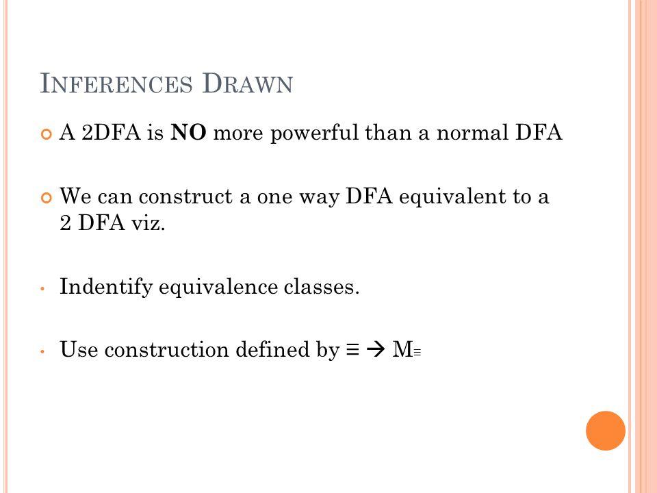 C ONSTRUCTING E QUIVALENT DFA Formally, a DFA equivalent to 2 DFA looks as: D=(Q',S',Σ U{├, ┤}, δ,F') Q' = { T: (Q U {.