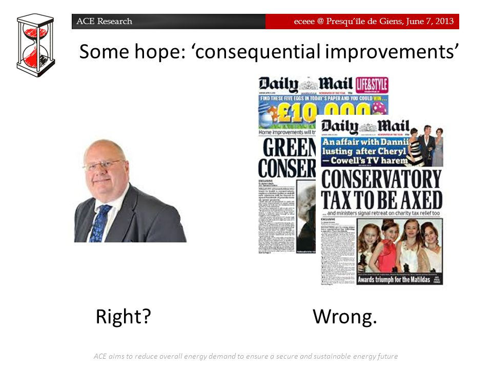 ACE Researcheceee @ Presqu'île de Giens, June 7, 2013 Some hope: 'consequential improvements' ACE aims to reduce overall energy demand to ensure a sec