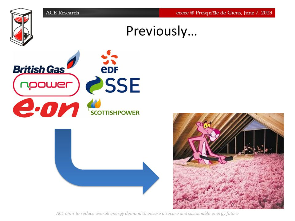 ACE Researcheceee @ Presqu'île de Giens, June 7, 2013 Previously… ACE aims to reduce overall energy demand to ensure a secure and sustainable energy f