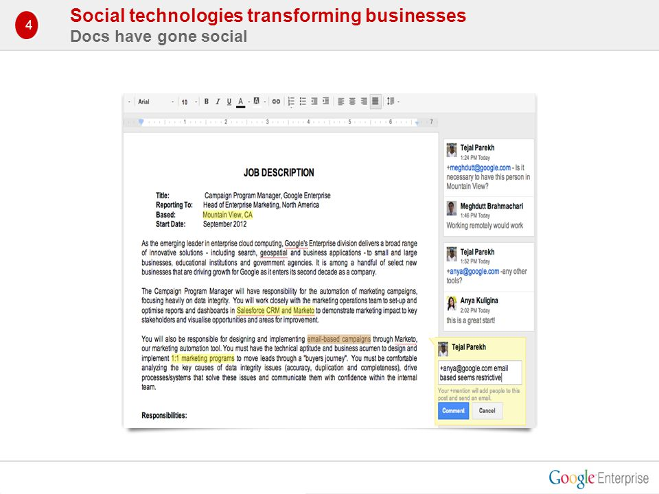 Social technologies transforming businesses Docs have gone social 1 4