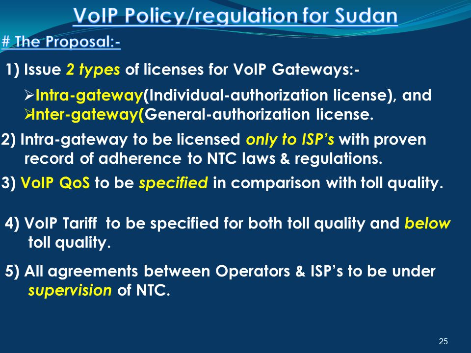 25 1) Issue 2 types of licenses for VoIP Gateways:-  Intra-gateway(Individual-authorization license), and  Inter-gateway(General-authorization licen