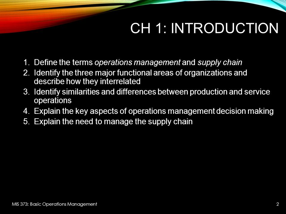 CH 1: INTRODUCTION 1.Define the terms operations management and supply chain 2.Identify the three major functional areas of organizations and describe