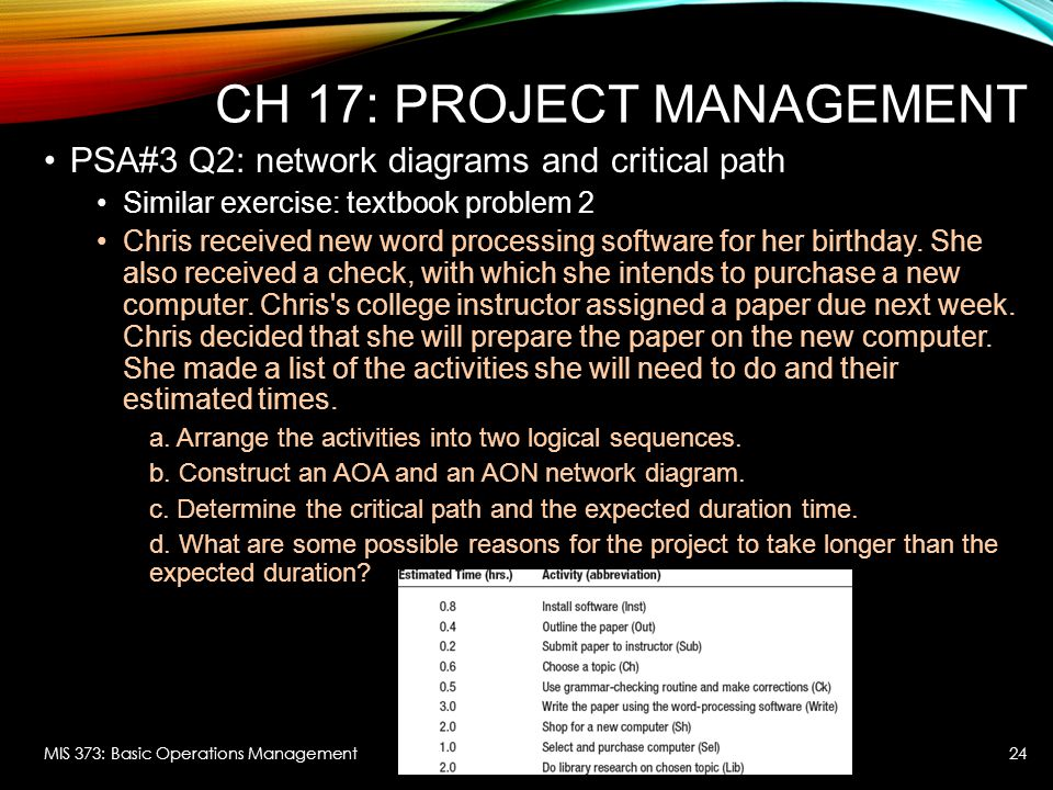 CH 17: PROJECT MANAGEMENT PSA#3 Q2: network diagrams and critical path Similar exercise: textbook problem 2 Chris received new word processing softwar